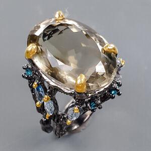 18ct+ Handmade Green Amethyst Ring Silver 925 Sterling  Size 8.5 /R178309