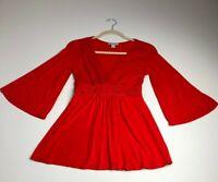 Boston Proper Women's ¾ Sleeve Blouse XS Red V Neck Jersey Stretch Romantic Date