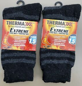 2 Pair Womens THERMAXX Extreme Thermal Winter Crew Socks Black/Gray Stripes 9-11