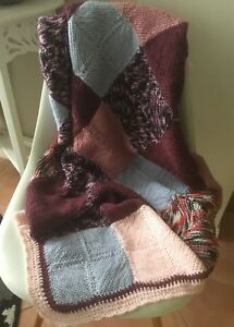 Baby Blanket Hand Made Crochet Granny Square Lilac Maroon Pink  90 X 180cm New