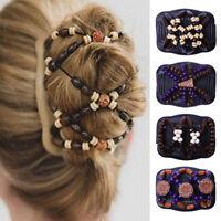 Vintage Women Hair Clip Wood Beads Magic Hair Comb Hairpin Headwear Decor Gift