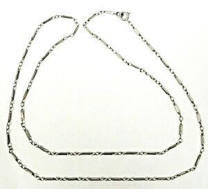 """Antique 14kt White Gold Art Deco Link Chain Necklace 18"""" Long 2.3 Grams TW"""