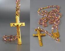Vintage FrenchArt Deco Rosary, Gilded Metal Crucifix Medal, Pale Amethyst Beads