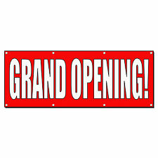 Grand Opening Red White Banner Sign 2 ft x 4 ft w/4 Grommets