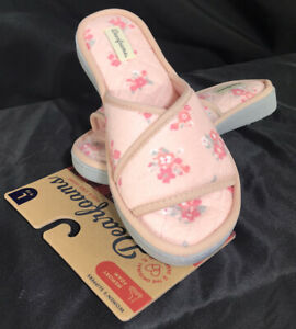 Dearfoams Women's Terry Slide Quilted Footbed Slipper Pink Floral Size 9/10