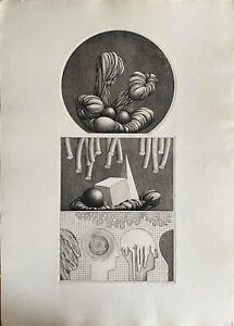 Emilio Baracco incisione acquaforte 3 immagini 1975 70x50 firmata numerata