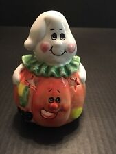 Halloween Pumpkin Candle Holder with White Ghost