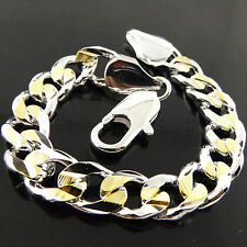 BRACELET REAL 925 STERLING SILVER S/F & 18K YELLOW GOLD G/F MEN'S CURB DESIGN