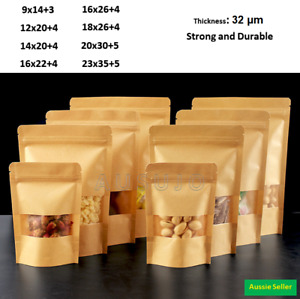 Kraft Paper Bags Stand Up Pouches Bag Zip Lock Resealable Window Pouch
