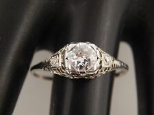 Vintage Art Deco Diamond Ring 18K Filigree  .64 tcw Old Mine Cut G/VS Engagement