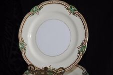 VTG NORITAKE HAND PAINT GRENWOLD JAPAN GREEN INSETS GOLD EDGE SALAD PLATE(s)