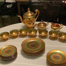 Vintage Bohemia made in Czechoslovakia 24 karat Gold tea set Platinum Hollywood