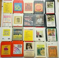 Mixed Lot of 20 Music 8-Track Cassette Tapes  RARE Vintage Artists from 50's