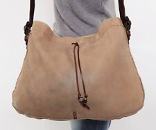 LUCKY BRAND Lrg Tan Suede Brown Leather Shoulder Hobo Tote Cross Body Purse Bag