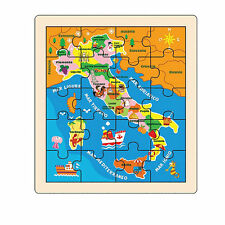 PUZZLE IN LEGNO ITALIA PICCOLO GIOCHI EDUCATIVI GIOCATTOLI BAMBINI REGALO