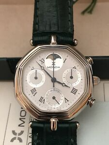 Vintage Cronografo MONDIA ZENITH Fasi Luna Cassa acciaio Scatola Garanzia NUOVO