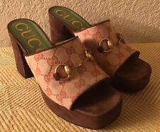 Gucci Houdan Platform Slide Sandal Sz 37 1/2 Brown