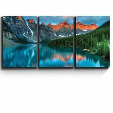 "Wall26 3 Piece Canvas Print - Tranquil mountain lake - 16""x24""x3 Panels"