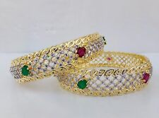 Indian Simulated Cubic Diamond Bangles Set Ethnic Ruby Bracelet Kada Jewelry 2.4