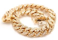 6.00Ct Natural Diamond 14K Solid Yellow Gold Men's Miami Cuban Link Bracelet 80g