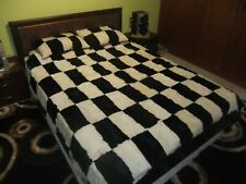 Luxury Bedspread Set Black & White Astrakhan Skin Fur Bedspread & 2x Pillowcases