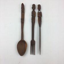 African Wooden Utensils Hand Carved Spoon Knife Fork Salad Wood Kitchenware