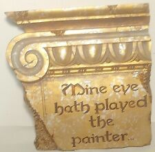 Beautiful  Wall Plaque/Architectural Detail, Gold, Shakespeare Love Poetry