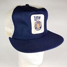 Vintage 1980s Miller Lite Beer Snapback Trucker Hat With Logo Patch