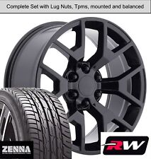 """20 x9"""" inch Wheels and Tires for Chevy Tahoe Replica 5656 Gloss Black Rims"""