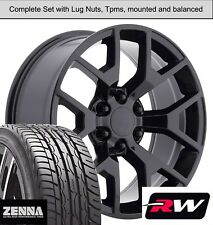 22 inch Wheels and Tires for Chevy Silverado 1500 Replica 5656 Gloss Black Rims