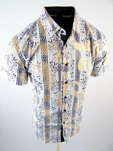 Mens Short Sleeve Shirt White Italian Stripe Gold Foil Floral Stretch Button Up