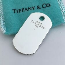 Tiffany & Co Sterling Silver Coin Edge Dog Tag Mens Unisex Pendant