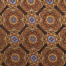 LUCIANO GATTI PLATINUM Brown Beige Camel Blue MEDALLION Woven Silk Tie NWT