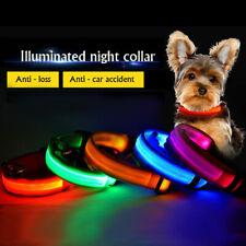 Collar de perro LED intermitente Glow Light Up Seguridad Perro Gato Mascota Collar Batería De Nylon