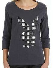 tee-shirt manches 3/4 PLAYBOY gris/argenté taille S - neuf