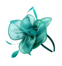 TEAL GREEN FLOWER FASCINATOR Melbourne Cup Headband Races Spring Racing Day