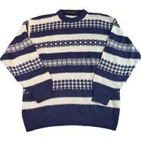 VINTAGE Sevres Mens Knitted Jumper XL Blue Patterned Pullover