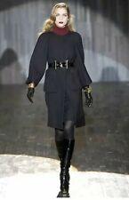 Gucci Coat Jacket Black Wool Crepe Wide-Sleeve Long Fall 2007 Runway! (It38/XS)