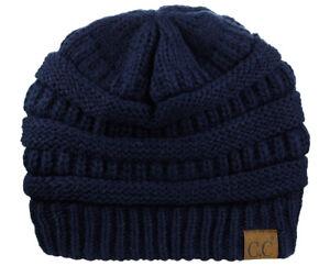 CC Beanie Women's  FLEECE LINED Chunky Soft Stretch Cable Knit Warm Fuzzy Beanie