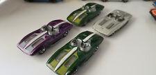 Set of 4 Hot Wheels Corvette Stingray Die-Cast cars - 2003 silver Green Purple