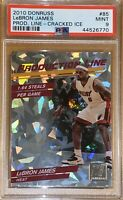 💎2010 LeBron James DONRUSS PRODUCTION LINE CRACKED ICE REFRACTOR #85 PSA 9 BGS