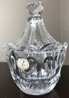 Crystal Clear Industries Sweetheart Lead Crystal Heart Candy Bowl With Lid MINT