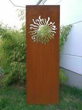Edelrost Sichtschutz Wand Rost Sichtschutzwand GartenGlas ,Metall 150*50 cm