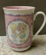 """Precious Moments """"Let's Be Friend's"""" Girls White/Pink Mug/Cup 1991 Enesco"""