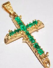 Cross Pendant 18k solid Gold with 11 AAA+  Colombian Natural Green Muzo Emeralds