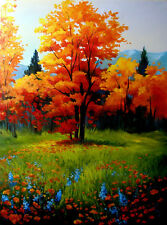 """Large oi Painting Autumn Trees  18 x 24""""  Fall Landscape Sherry Price"""