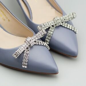 2 Pcs Rhinestone Crystal Bow Bridal Wedding Shoes Shoe Clips