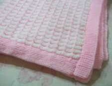 """Hand Knitted Babies White & Pink Pram Blanket, Size 29"""" x 25"""""""