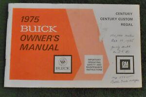 1975 Buick Century Custom Regal ORIGINAL OWNER'S MANUAL