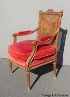 Vintage Carved Mahogany & Cane Red Velvet Goose Down Chair ~ Louis Bulloni & Son